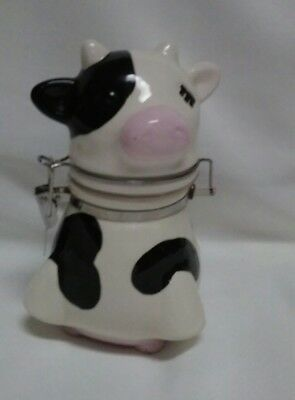 "Boston Warehouse Trading Corp. Cow Sugar Bowl 7"" Tall With Hinged Lid"