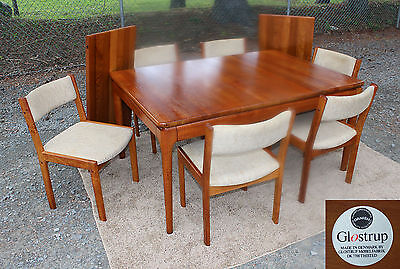 Rare Mid Century Danish Modern SOLID TEAK Dining Room Set Table 6 Chairs