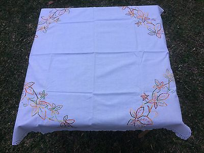 Vintage Hand Embroidered Tablecloth - 'Autumn Tones' 90 cm x 90 cm