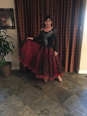 ballroom dress black and red with stones size medium