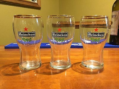 3 Gold Rim Heineken Glasses