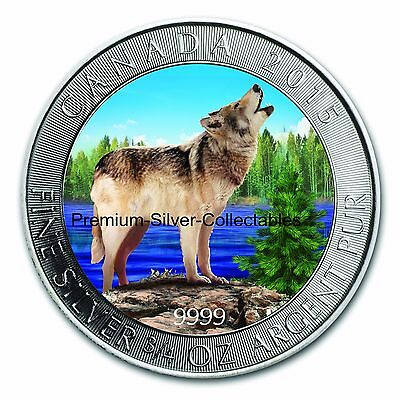 2015 Canada Grey Wolf Series - Coin #3 of 4 Summer 3/4 Ounce Pure Silver .9999