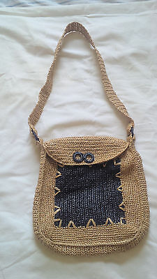WOVEN STRAW Shoulder Bags Bohemian Tribal and Striped Hippie Vintage 1970's