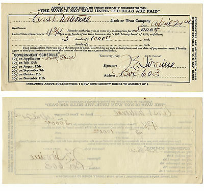 Rare Fifth Liberty War Bond Purchase Receipt, First National Bank, Circa 1919