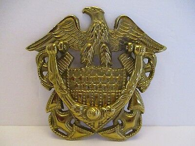 Solid Brass American Eagle Door Knocker With Stars & Stripes Flag Shield