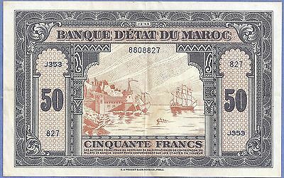 *XF* Morocco 50 Francs P-26  1-3-(19)44  SHIPS, CASTLE