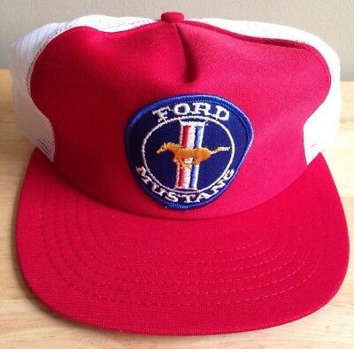 1970s 1980s FORD MUSTANG BASEBALL CAP, RED with WHITE MESH, NEW VINTAGE