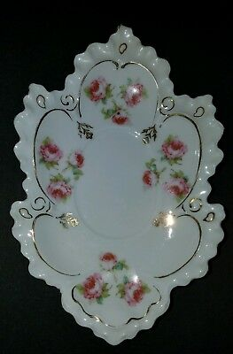 Vintage Porcelain LeafShaped Gilded Dish with Pink Peonies AUSTRIA