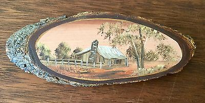 Collectable Miniature Treecraft Australian Art -Old Homestead Scene Hand Painted