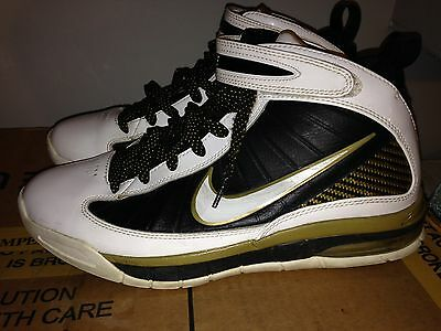 Nike Air Max Rise 2009 Mens White Black Gold Basketball Shoes Size 9.5