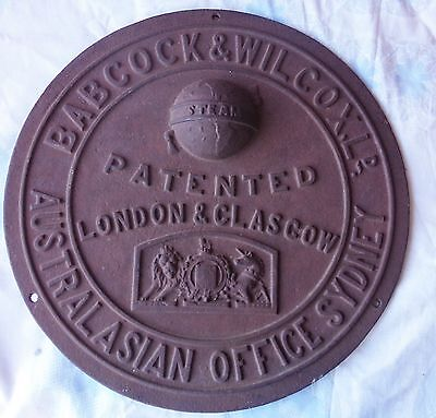 Cast Iron Babcock & Wilcox Boiler Steam Engine Plaque Sign Tram Train Traction
