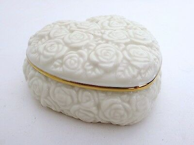 LENOX Embossed Rose Heart Shaped Trinket Box Fine China 24KT Gold Accents