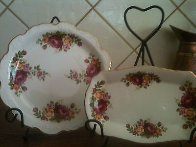 2 Old Foley James Kent Antique China Plates Roses Great Condition