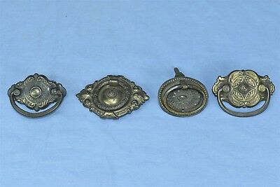 Antique MIXED LOT of 4 VICTORIAN PRESSED BRASS DRAWER HANDLE PULL HARDWARE 04227
