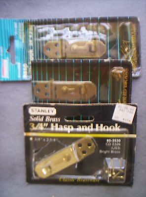 3 Vintage Solid BRASS Small Hinged HASP/Hook 1 Stanley USA-1 marked STANLEY