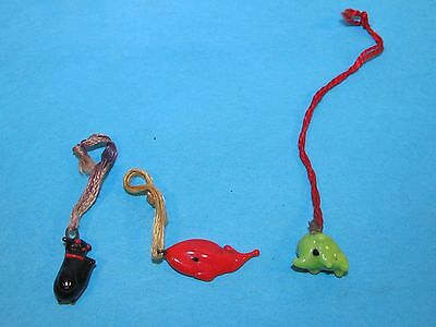3 Early GLASS Cracker Jack Toys / Bubble Gum Ball Machine Charms Toy Prizes Cat