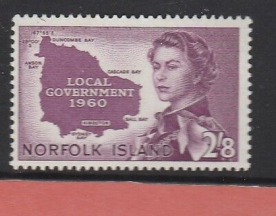 1960 NORFOLK ISLAND 2'8d Purple INTRODUCTION TO LOCAL GOVERNMENT SG#40 MUH