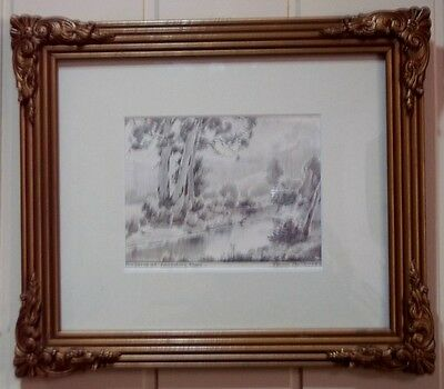 Pencil Drawing , ' The Yarra at Launching Place ' by Listed Artist , F Mutsaers
