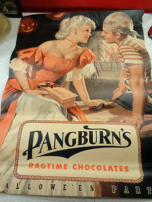 1949 Original Pangburn's Chocolates Halloween Poster Ragtime Signed Medcalf