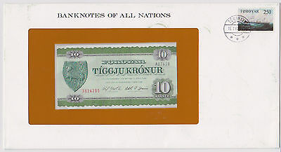 1974 FAROE FAEROE 10 KRONER PICK 16a BANKNOTES OF ALL NATIONS light problems