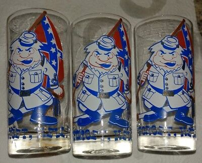 Vintage BARWARE TUMBLERs  FORGET HELL CONFEDERATE SOLDIER GLASS LOT of 3