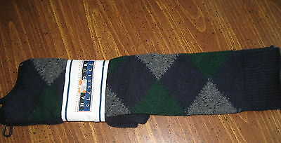 Vintage Knee High Socks Argyle Retro Blu green gray Knit NEW School Girl USA Mad