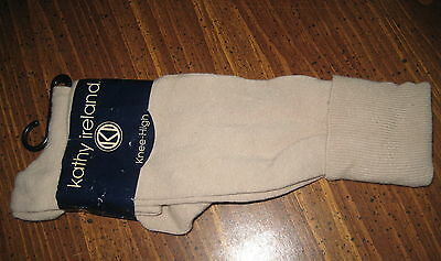 Cool Knee High Socks Kathy Ireland Beige Stretch Knit NEW w/tags School Girl