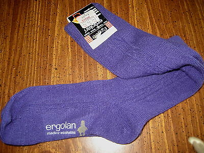 Vintage Knee High Socks Purple Acrylic Ergolan Cable Knit NEW w/tags School Girl