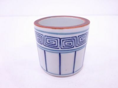 30905# Japanese Tea Ceremony / Futaoki (Lid Rest) / Blue & White Porelain / Line