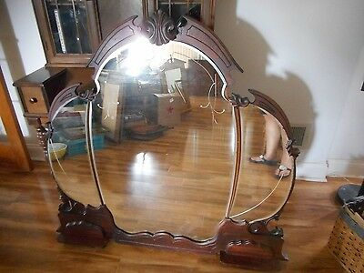 "Vintage Xlarge Outstanding 3-Section Etched Wall Mirror 48"" X 45"" -  Rare Find!"