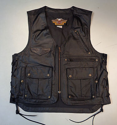 Harley Davidson Hd Black Leather Cargo Vest Mens Xl *made In Usa* 98246-92V  100