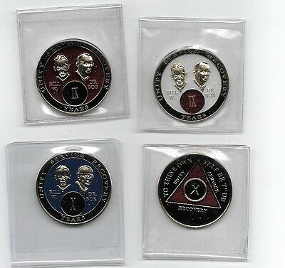 FOUR x ALCOHOLICS ANONYMOUS ANNIVERSARY COINS WHOLESALE BRAND NEW!