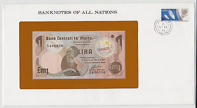 MALTA 1979 LIRA POUND BANKNOTES OF ALL NATIONS PICK 34b