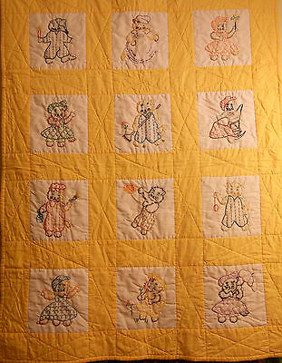 Baby QUILT, hand embroidered & quilted peach kittens girl cat animals polycotton