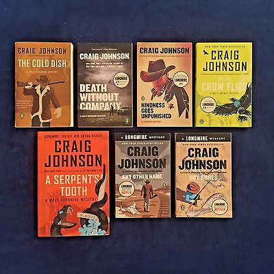 7 Book Lot Craig Johnson: Walt Longmire Series Cold Dish Death Without Company &