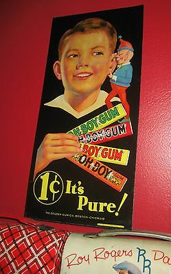 "Oh Boy Gum Advertising Sign. Original. Excellent Condition; 1930s; 15½"" x 7½"""