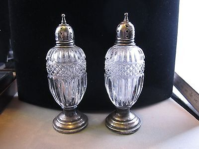 1920's SHEFFIELD STERLING SILVER AND CRYSTAL SALT AND PEPPER SHAKERS