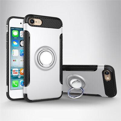 Rotate Ring Heavy Duty Shockproof Stand Back Case Cover For iPhone 6 Plus Silver