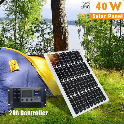 40W 12V Solar Panel Kit MONO Caravan Camping Home Power Battery Charging 4X4