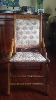 Victorian Antique Eastlake Wood Tapestry Carpet Bag covered wagon chair