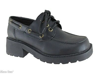 Primovers Booma Girl's Lace Up Heeled School Shoes AU