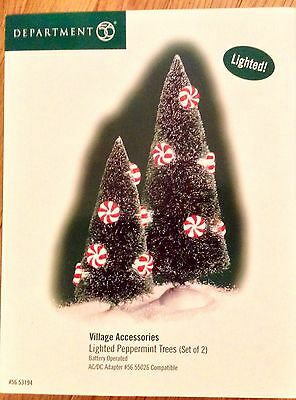 dept 56 village accesories lighted peppermint trees set of 2 #56.55026