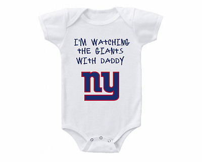 New York Giants Watching With Daddy Baby Onesie or Tee Shirt