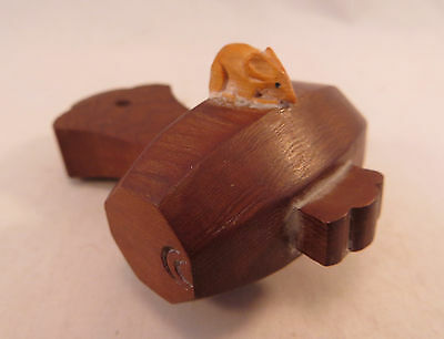 Vintage Japanese Ittobori Wood Netsuke of Rat on Daikoku's Mallet Hammer Japan
