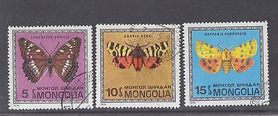 MONGOLIA-1974-BUTTERFLY STAMPS X 3-CTO CANCEL-VFU-$2.50 freepost