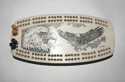 Vintage Scrimshaw Cribbage Board, Soaring Eagle, Good Condition With Pegs.