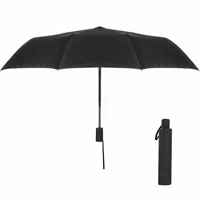 Compact Foldable Umbrella Automatic Open Close for Travel Winproof Black