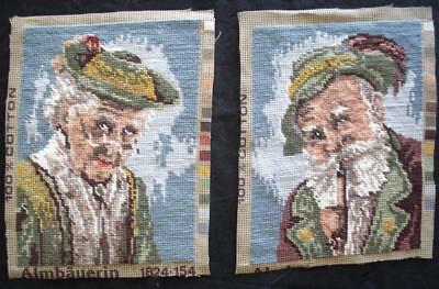 "2 New completed needlepoint old lady with a hat old man with a pipe 9.5""x7.2"""