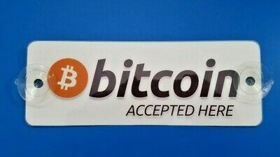 1x Bitcoin Accepted Here Window Removable Sign Laminated BTC  Decal Sticker