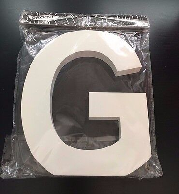 One Large White Gloss Wooden Letter G Uppercase Font~Standing Or Hanging~Bnip